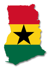 Carte / drapeau du Ghana