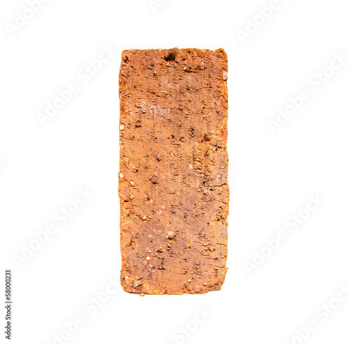 Red bricks over white background