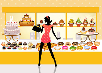 woman buys pastries