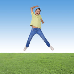 boy jumping outdoor