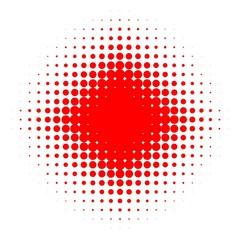 Rundes Muster mit  Verlauf aus großen und kleinen roten Kreisen