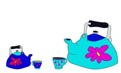 Dos teteras y dos tazas