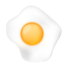 Fried Egg isolated on white background. See also vector version