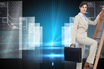 Composite image of businesswoman climbing career ladder with bri