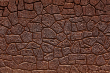 Wall made ​​of bricks color of rusty iron