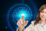 Composite image of businesswoman touching invisible screen