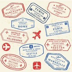 Passport stamp set - world visa stamps
