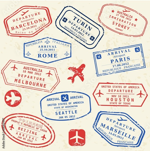 Passport stamp set - world visa stamps
