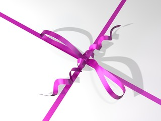pink-colored ribbon and bow of a gift box