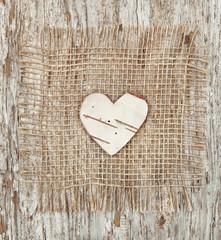 Heart shape made of birch bark