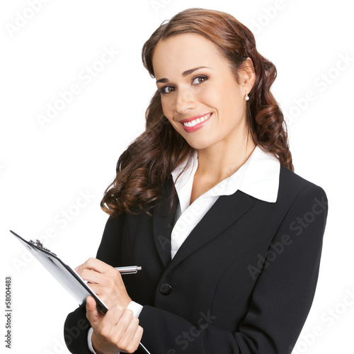 Young businesswoman with clipboard, isolated