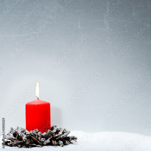 Voucher for christmas with red candle