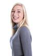 Lachendes junges Mädchen isoliert in einem grauen Pullover