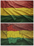 Bolivia flag and map collage