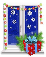 Новогоднее оформление пластикового окна. Векторная иллюстрация