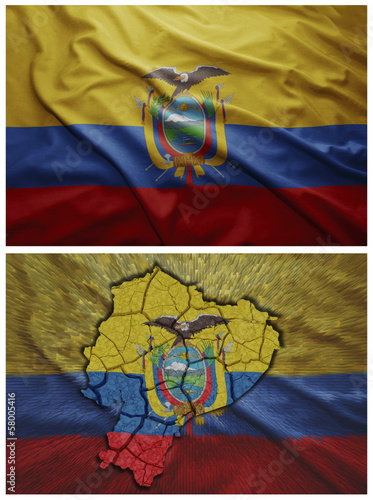 Ecuador flag and map collage