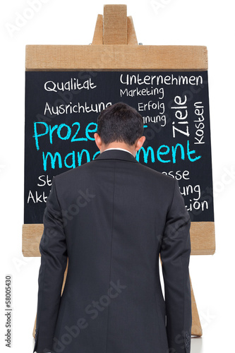 Composite image of process management written on blackboard in g