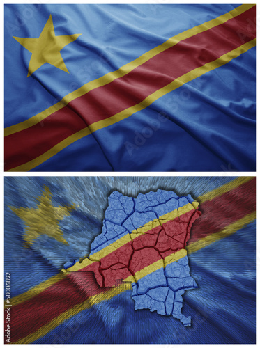 Democratic Republic of the Congo flag and map collage