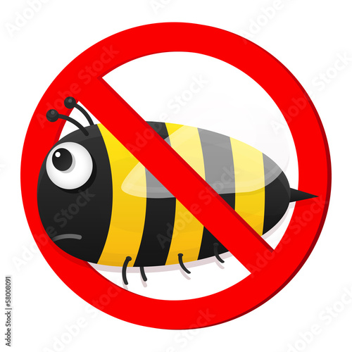 No bee sign isolated on white background