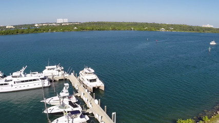 Aerial video of a marina