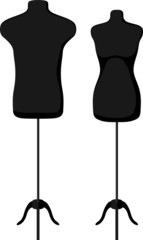 Male and female empty mannequin torso template