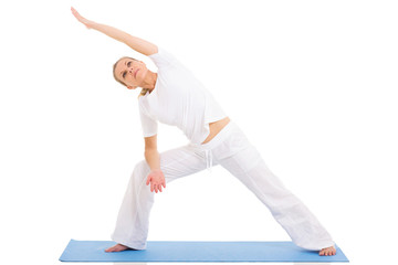 senior woman yoga on white background
