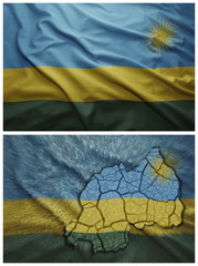 Rwanda flag and map collage