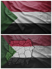 Sudan flag and map collage
