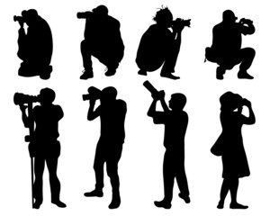 Black silhouettes of people with cameras, vector