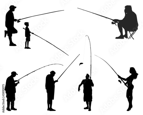 Black silhouettes of fishermen on a white background, vector