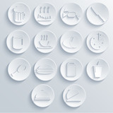 Vector food icon set on blue background. Eps10