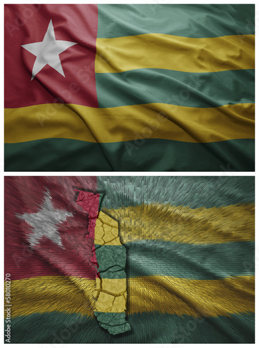 Togo flag and map collage