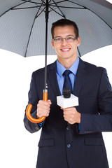 weather news reporter with umbrella