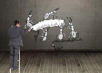 Composite image of businessman standing on ladder
