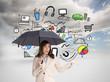 Composite image of elegant businesswoman holding black umbrella