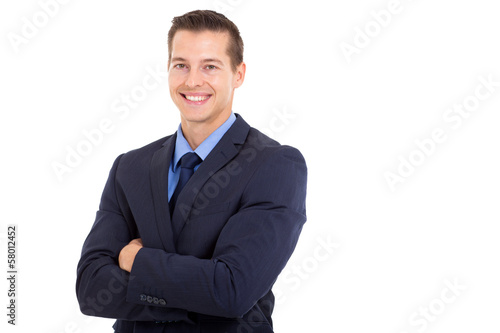 young corporate worker with arms folded