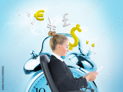 Composite image of businesswoman sitting on swivel chair with ta