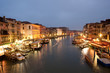 The view of Grand Canal at night from Rialto bridge.