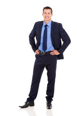 business executive standing on white background