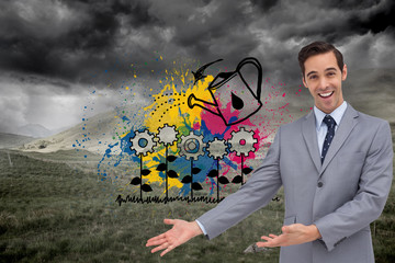 Composite image of happy businessman giving a presentation with