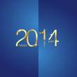 Gold New Year 2014 blue background vector