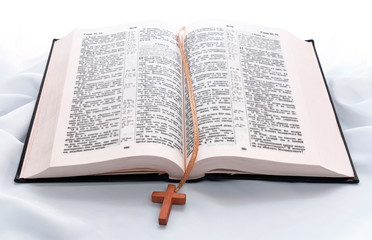 Opened bible book