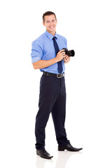 photographer standing on white background