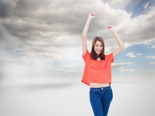 Composite image of laughing teenage wearing casual clothes while