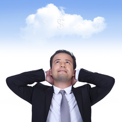 Businessman is thinking profitable cloud business