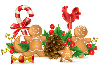 Christmas candy and decorations