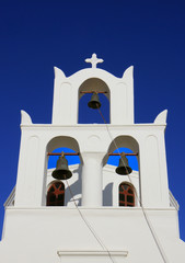 Bell cote on Greek Orthodox Church in Oia,Santorini