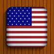 Vector flag icon on wooden background. Eps10