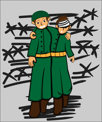 Illustration of A Good Army Man Helping His Injured Friend