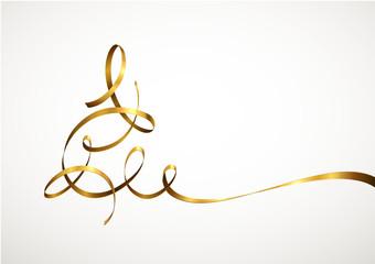 Abstrakter Weihnachtsbaum aus goldenem Band